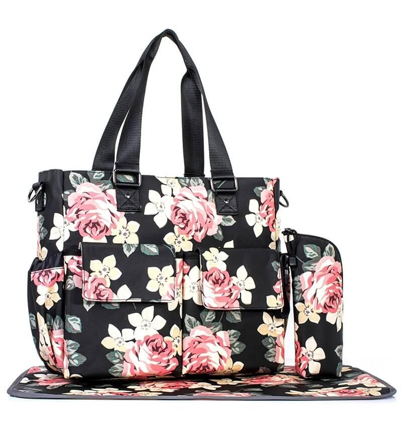 【送料無料】輸入 マザーズバッグ 花柄 トートバッグ 防水ラージ マザーズバッグ ピンク/ブラック おむつバッグ ママさんバッグ