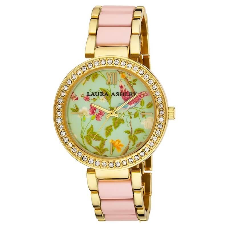 レディース アナログ ウオッチ ローラアシュレイ 腕時計 ピンク Laura Ashley Ladies Pink Band Summer Duck Egg Dial Watch