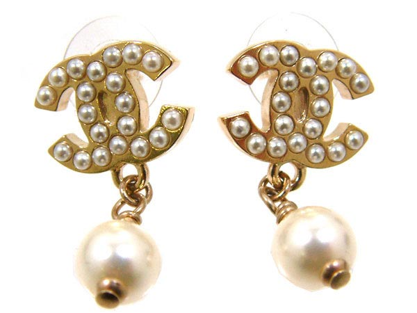 Accessories Earrings A26973 White Gold Pearl Cc Swing Women S