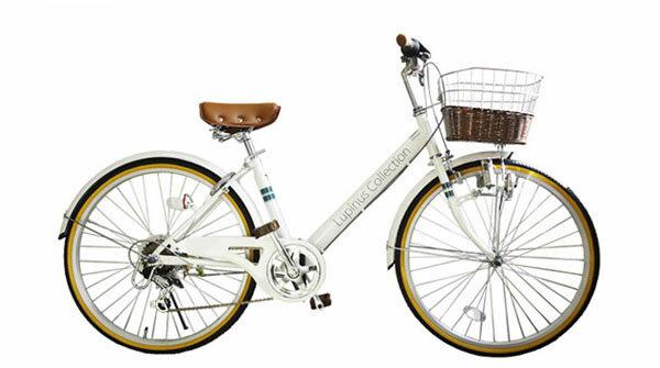 【送料無料】【この商品ページは東京・神奈川へのお届け限定です。】シティサイクル おしゃれ ギア付 LP-246VD Lupinus ルピナス 24インチ 完成品 Vフレーム6段変速 藤風カゴ付き 自転車 02P03Dec16