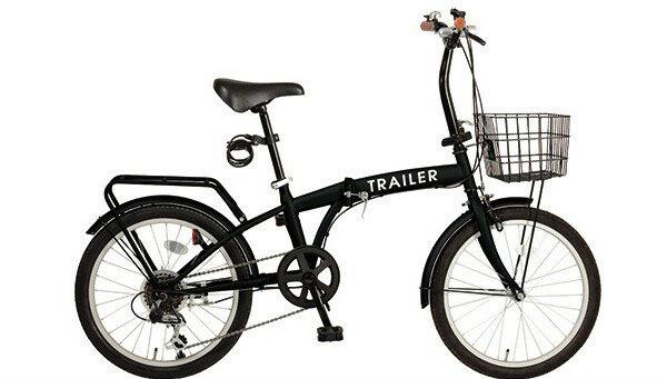 【送料無料】折りたたみ自転車 20インチ カゴ付 カギ/ライト付き 6段変速 軽量 カゴ TRAILER BGC-F20