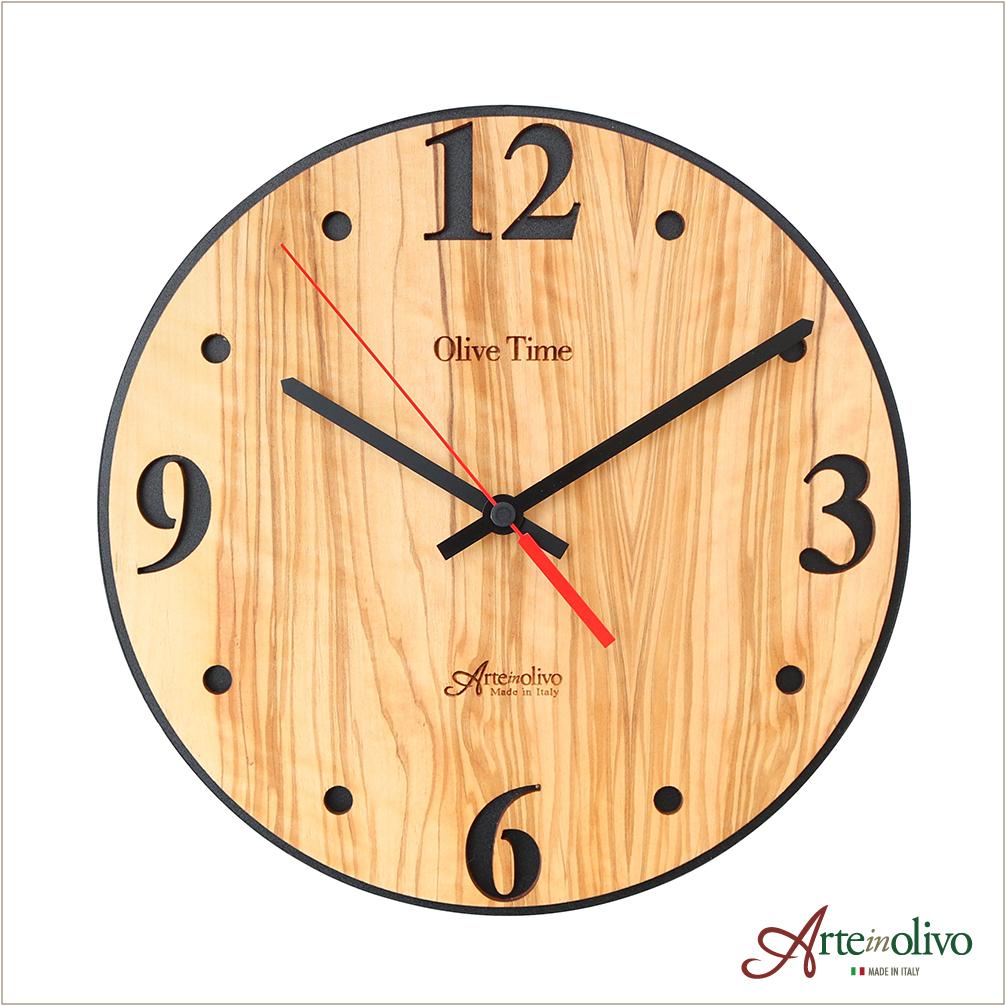 [Arteinolivo] オリーブウッドの時計(ナチュラル/ブラック)