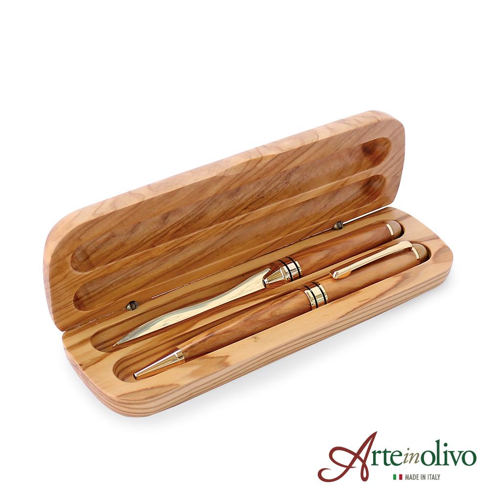 [Arteinolivo] オリーブウッドのボールペン・ペーパーナイフセット