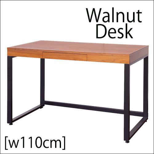 ●.4月下旬入荷分です。パソコンデスク ワークデスク 机 110cm幅 Walnut Desk ブルックリン 西海岸 男前天然木 ウォールナット デスク 単品【 W110 cm】