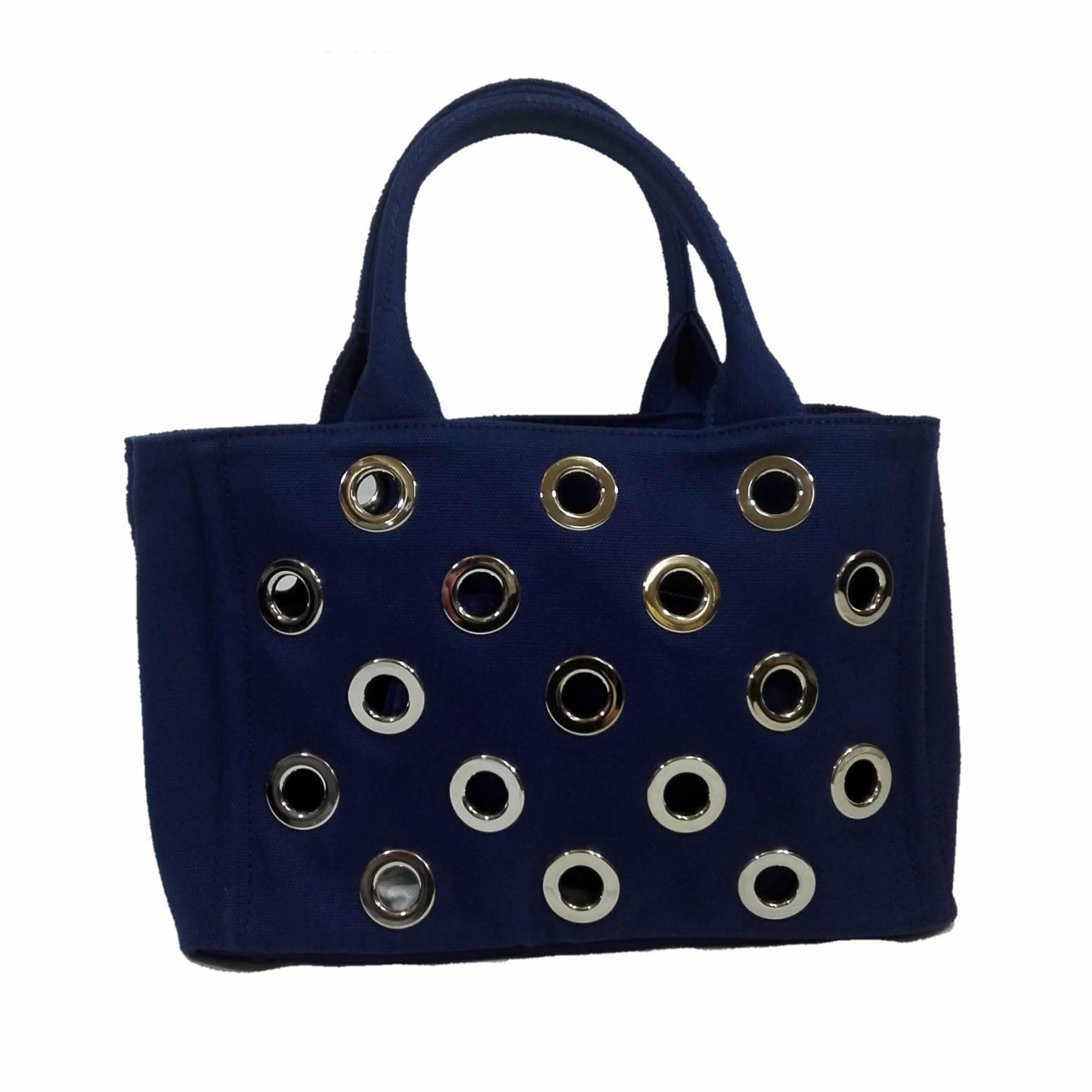 プラダ [PRADA] パンチング トートバッグ 1BG439-ZKI-F0016VOVO BLUETTE / ブルー【Luxury Brand Selection】
