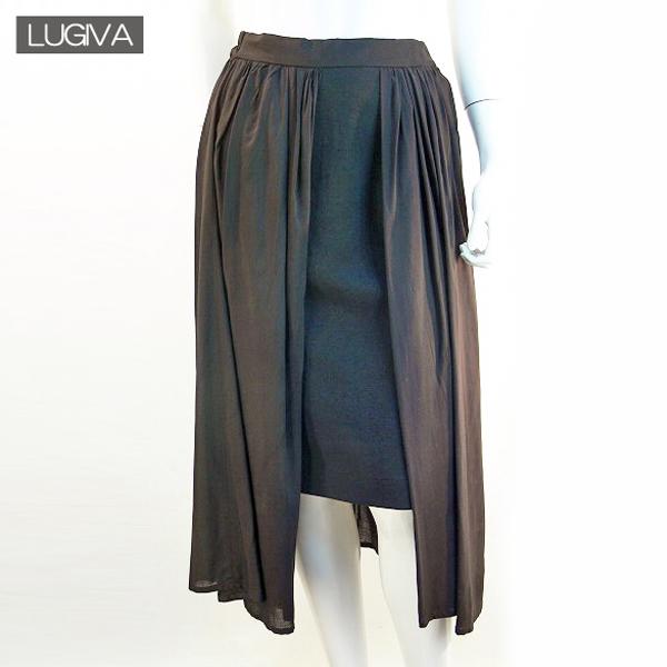 全国送料無料 LUGIVA チュール切り替えスカート ロングスカート タイトスカート アシンメトリー (ブラック)