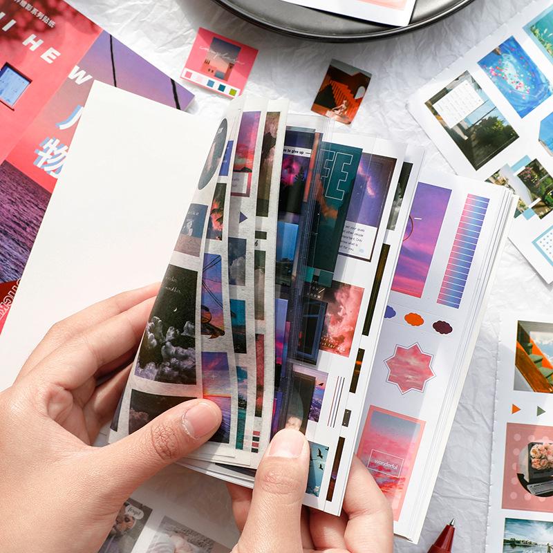 収納に困らず使いやすいブックタイプ 世界縮影系列 海外シールブック20枚つづり 今季も再入荷 マスキングテープ素材5枚 PET素材5枚 コート紙10枚■全6種類■HM 海外シール コラージュ トレンド 写真 シールブック 背景シート 日記 デコ マスキングテープ素材