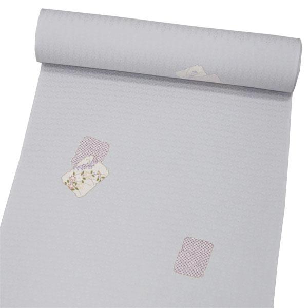 正絹小紋 【灰白色地に花と絞り柄】 お仕立て付