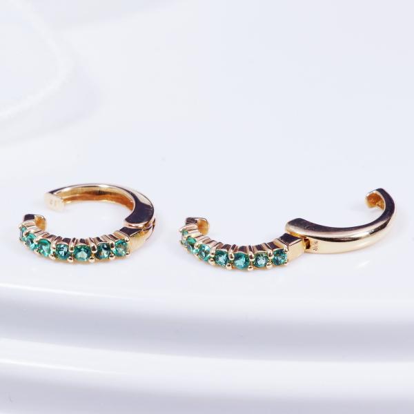 【耳元を飾る素敵なカラーストーンイヤリング!】18金エメラルドデザインイヤリングピアリング(165374)