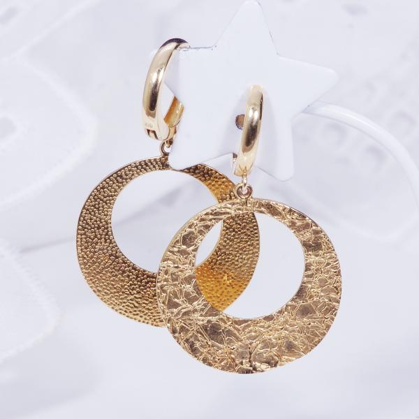 18金ゴールドデザインピアリング円形(171028)