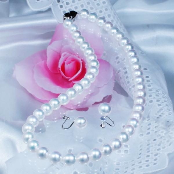ギフト 人気のあこや真珠ジュエリー 特別奉仕品 上質大珠8mm珠「花珠」あこや真珠ネックレス&イヤリング