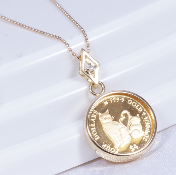 cda6df22f30fa 18 k gold frame gold coin pendant necklace (macho   match) (diamond with  Vatican City) 85096370.