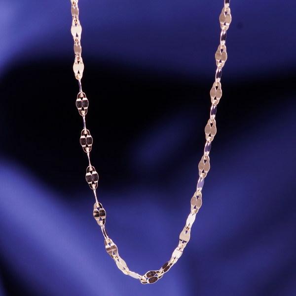 18金ピンクゴールドデザインネックレス(エクレア)イタリア製 42cm
