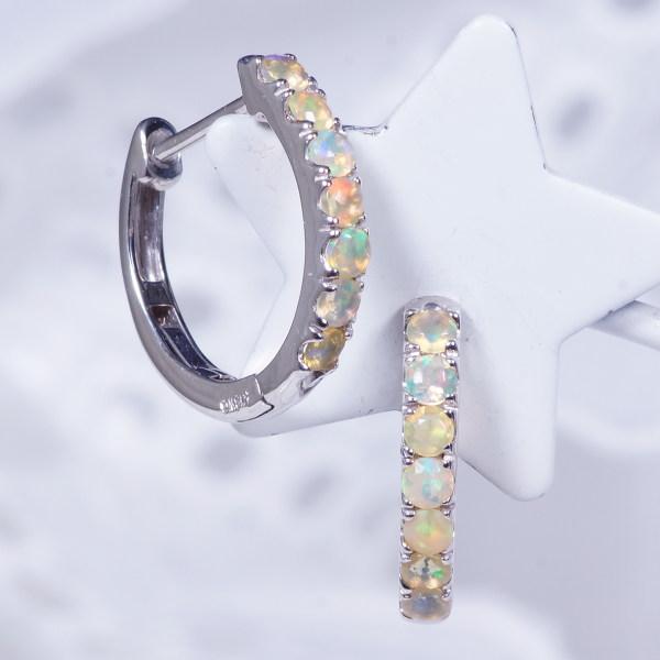 特別ご奉仕価格 18金ホワイトゴールドオパールデザインピアス ハーフエタニティー 特製バネクリップ 10月誕生石 PA-9540