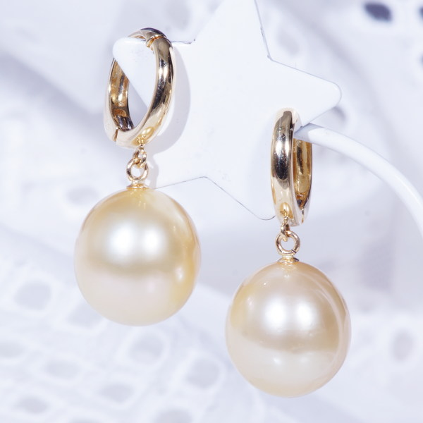 Special Offer Gifts Look And Clean Pearl Earrings New Piercing Sensation 18 K Gold Large South Sea Golden Pearls Ring 11 Mm Swing