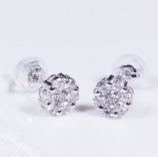 Special Offer Platinum Finest Catched Cupid Diamond Elegant Flower Design Earrings Total 0 5 Carats