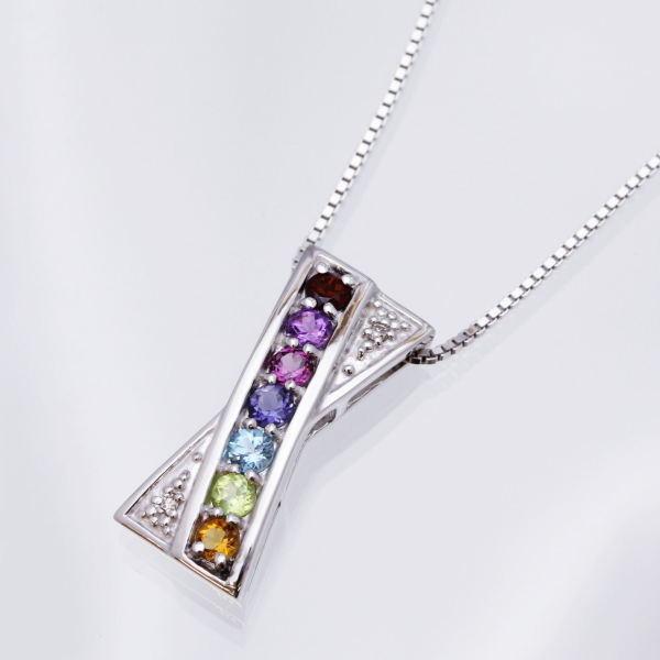 ギフトおすすめシルバーアミュレット&ダイヤデザインペンダントネックレス クロスオーバー