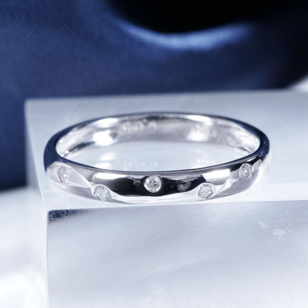 ギフトおすすめプラチナ ダイヤモンドデザインリング (ファイブスター)
