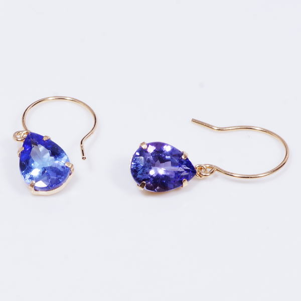 Rare Jewel Tanzanite Special Service Product 18 Karat Gold Large Drop Of American Pierced Earrings Meter 2 Carats Pair Shape December Stone Amulet