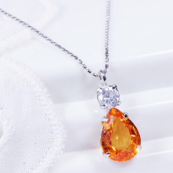 特別奉仕品 プラチナ オレンジサファイヤ ダイヤ ぺンダントネックレス 1カラット ペアシェイプ 9月誕生石