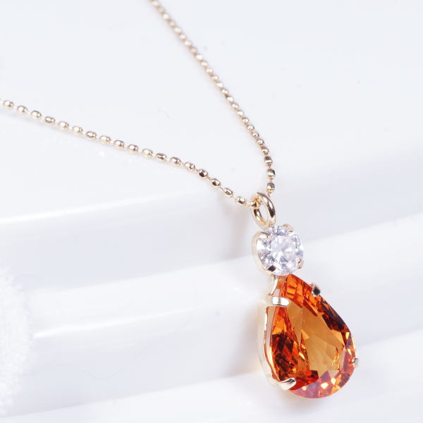 Japangold rakuten global market special service product 18 karat special service product 18 karat gold orange sapphire diamond 1 carat pair shape september stone amulet for an easy delivery aloadofball Image collections