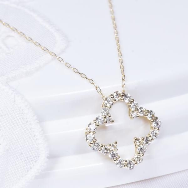 18金ダイヤペンダントネックレス オープンクローバー 通学 米寿祝 キャッシュレス5%還元対象 開店祝