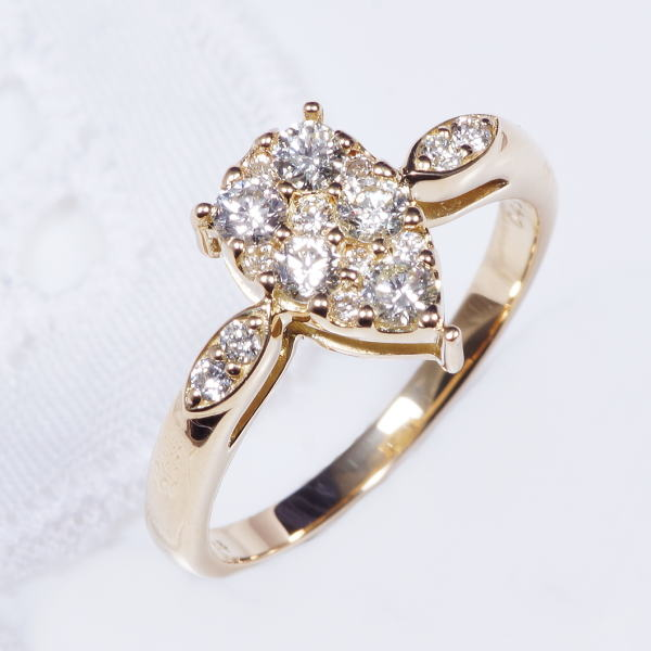 特別奉仕品 18金ダイヤデザインリング パヴェドロップ計0.45カラット 4月誕生石
