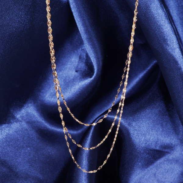 特別奉仕品 18金イエローゴールドイタリー製デザインネックレス エクレアプレミアム3連