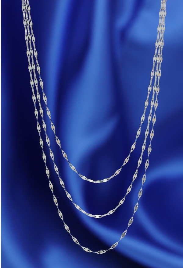 特別奉仕品 18金ホワイトゴールドイタリー製デザインネックレス エクレアプレミアム3連