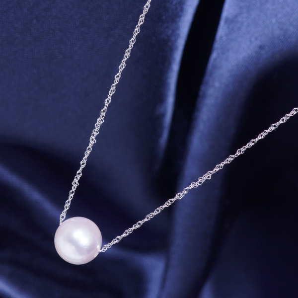ギフトおすすめ 18金ホワイトゴールド 大珠8mm珠上質あこや真珠 ペンダントネックレス 43cm