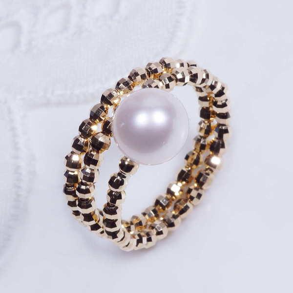 18金 あこや真珠デザインリングミラーボールスパイラルフリーサイズ 形状記憶機能付きプレゼント 贈り物 6月誕生石
