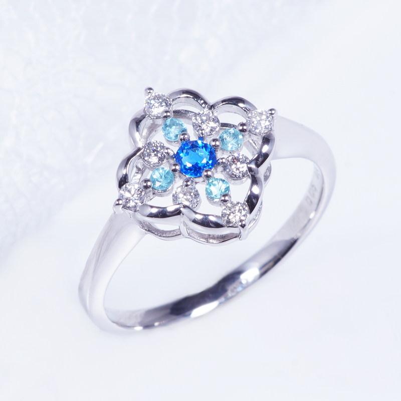 希少宝石 特別奉仕品 プラチナ アウイナイト パライバトルマリン ダイヤ デザインリング RO-7736