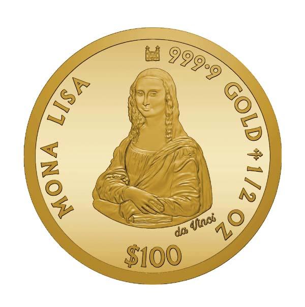 「モナ・リザ」プルーフ純金金貨 1/2オンス 2019年度 特製ケース モナ・リザカード付き