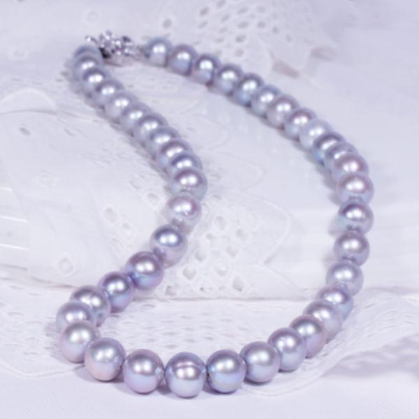 大珠淡水グレー真珠ネックレス 43cm 6月誕生石