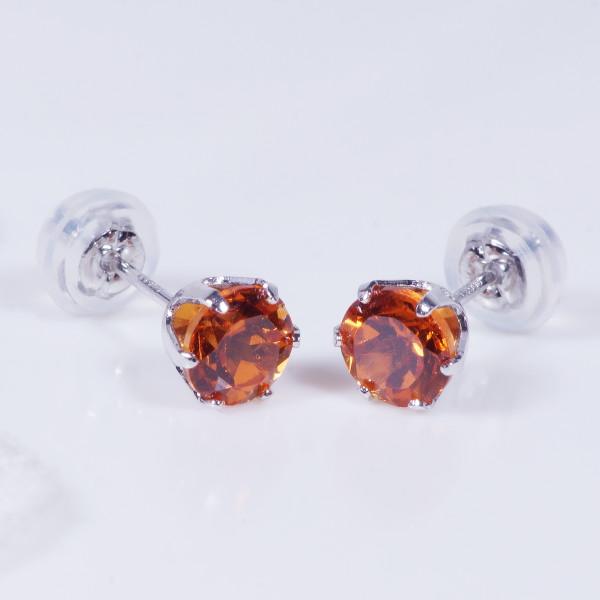 プラチナ オレンジ ガーネット ピアス ラウンド 計1.4カラット 1月誕生石 IA562 特別奉仕品