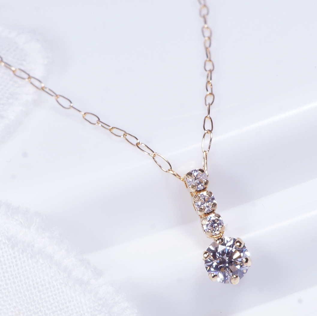 ダイヤ ペンダント ネックレス 18金 3石 40cm 4月誕生石 TN1052YGZ