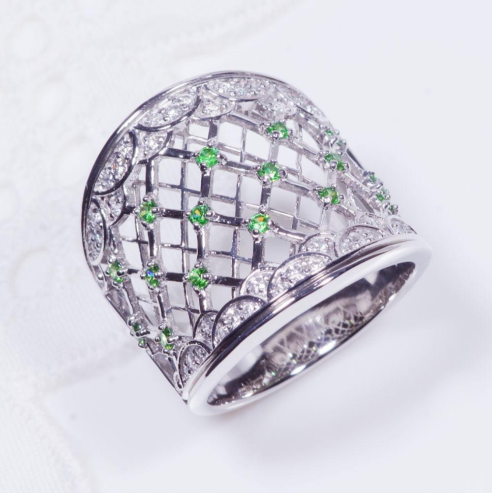 希少宝石 プラチナ デマントイトガーネット ダイヤ デザインリング RR4121 幅広 アンティーク 格子 1月誕生石