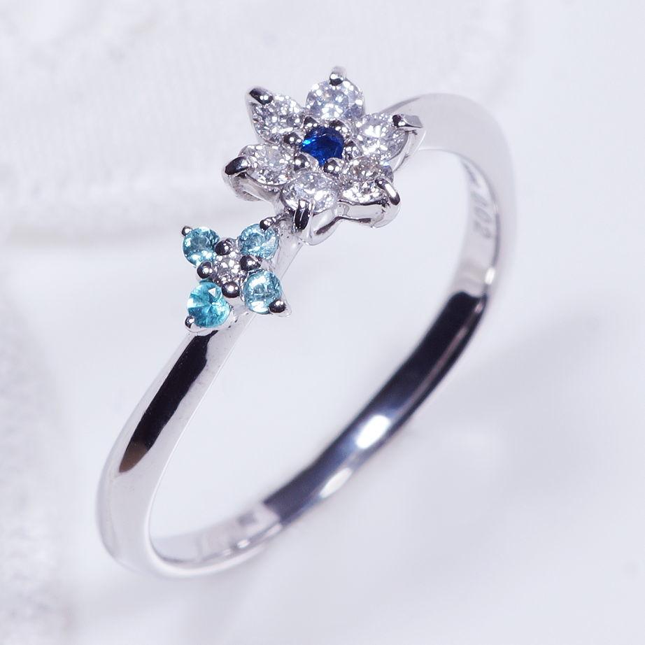 希少宝石 プラチナ アウイナイト パライバトルマリン ダイヤ デザインリング R07771 コメット フラワー