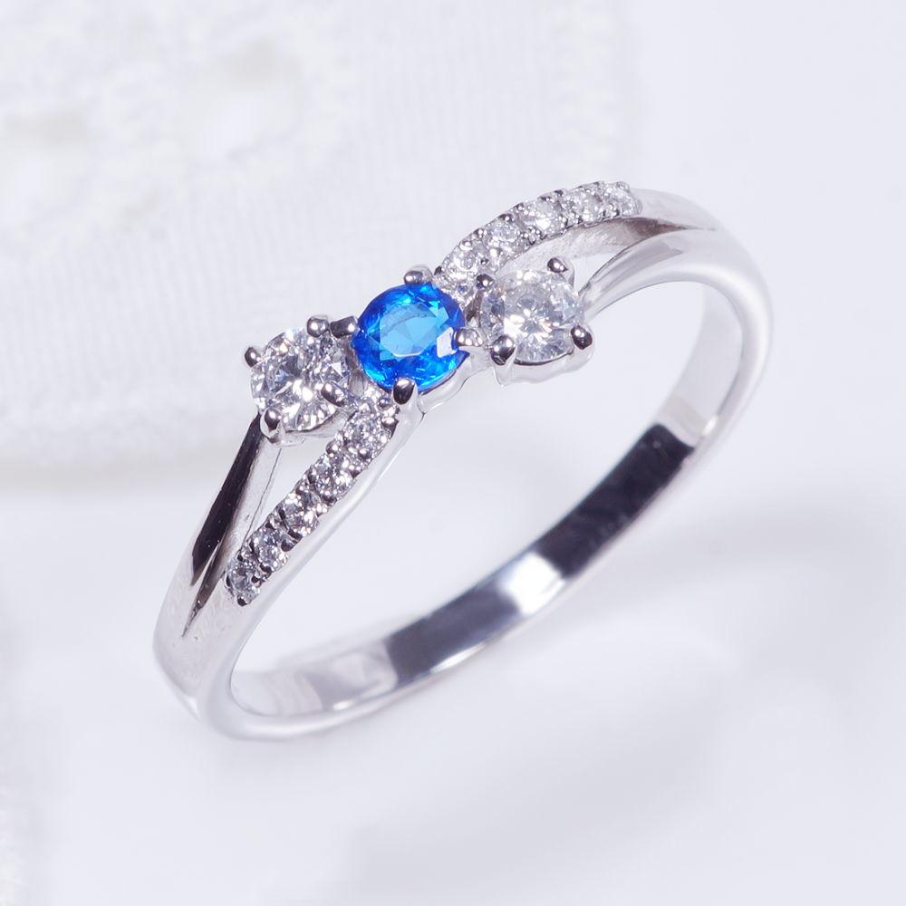 希少宝石 プラチナ アウイナイト ダイヤ デザインリング R08122 ブリッジ リボン
