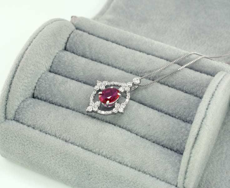 【鑑別付】Pt900 天然非加熱ルビー 0.62ct ダイヤモンド 0.30ct プラチナ ネックレス レディース