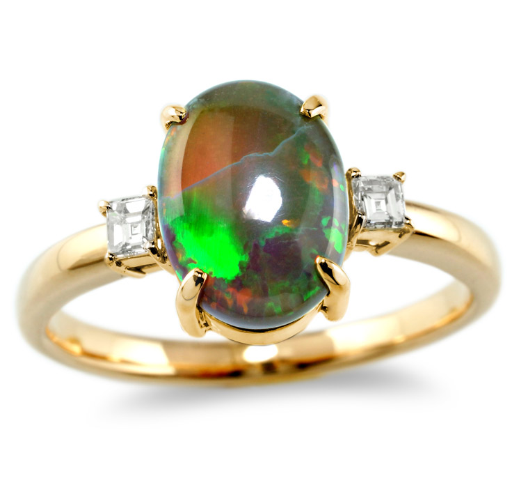 【K18リング 指輪 加工】 Mサイズ バケットダイヤモンド 0.05ct×2