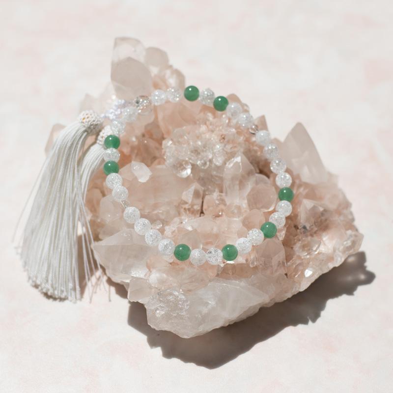 数珠 即納 パワーストーン5月誕生石 略式ヒスイ数珠 8mm玉 ヒスイ 水晶使用8On0kXPw