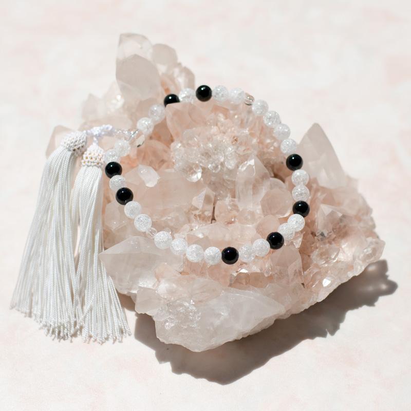 数珠【即納】パワーストーン 【8月誕生石 略式オニキス数珠】8mm玉 オニキス 水晶使用