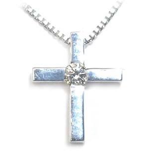 クロス ( 4月誕生石 ) K18ホワイトゴールドダイヤモンドペンダントネックレス 【DEAL】 末広 スーパーSALE