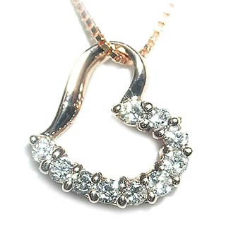 K18ピンクゴールドダイヤモンドペンダントネックレス(ハートモチーフ) 【DEAL】