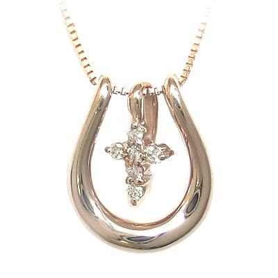 ( 4月誕生石 ) K18ピンクゴールドダイヤモンドペンダントネックレス(馬蹄モチーフ) 【DEAL】