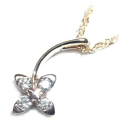 ( 4月誕生石 ) K18ピンクゴールドダイヤモンドペンダントネックレス(フラワーモチーフ) 【DEAL】