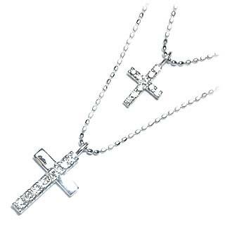 K18ホワイトゴールド ダイヤモンドペンダントネックレス(クロスモチーフ)【DEAL】