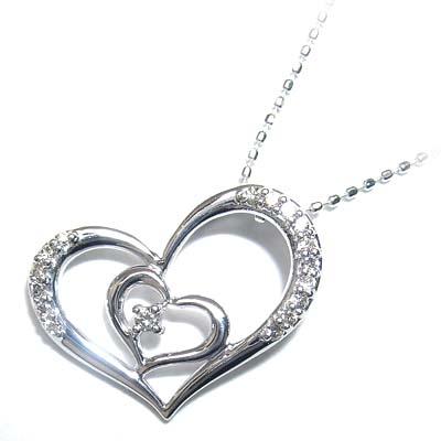 ( 4月誕生石 ) K18ホワイトゴールドダイヤモンドハートモチーフペンダントネックレス 【DEAL】