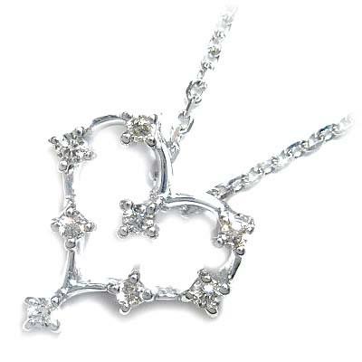 ( 4月誕生石 ) K18ホワイトゴールドダイヤモンドペンダントネックレス(ハートモチーフ) 【DEAL】 末広 スーパーSALE